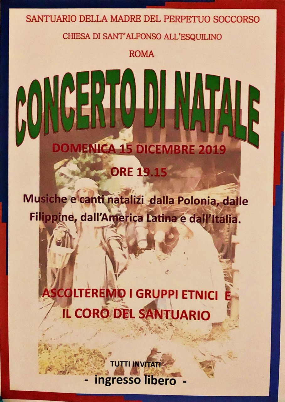 12/16 – Domenica – Concerto di Natale